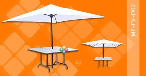 mesas plegables para sombrillas