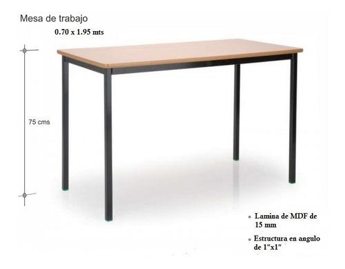 mesas rectang, lamina melamina mdf 15mm y estructura acero
