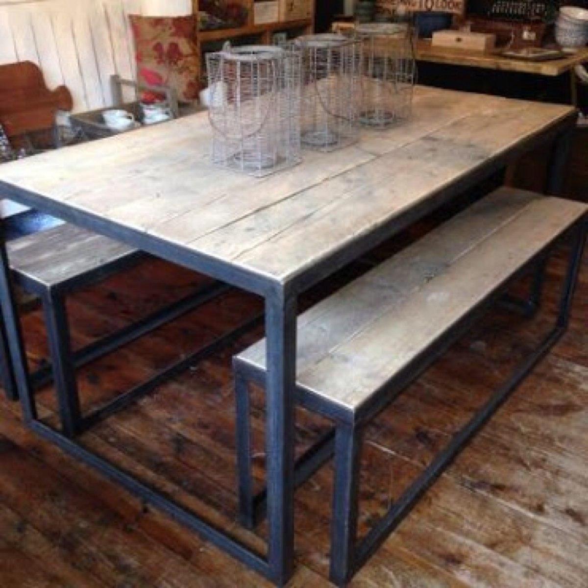 mesas rusticas de hierro y madera