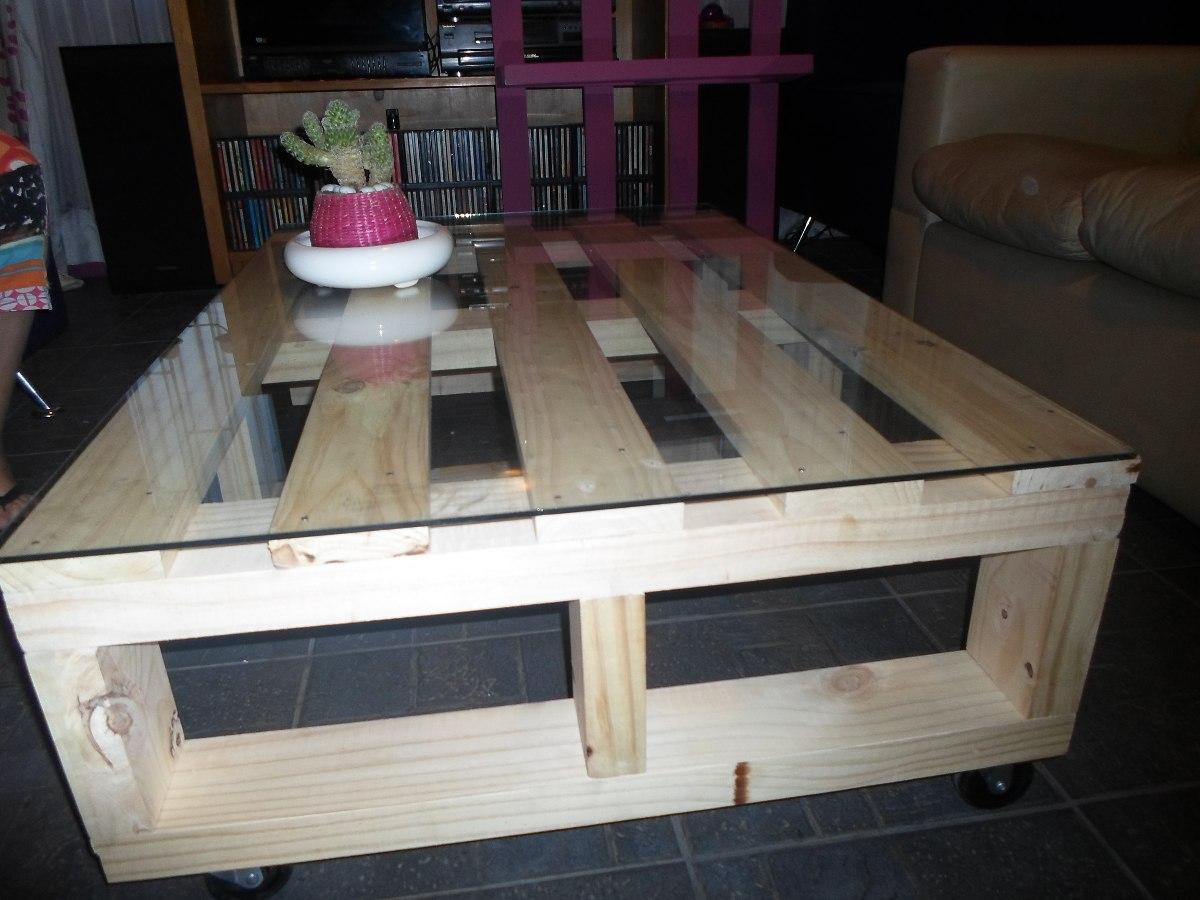 Mesas Tipo Pallet Artesanales 1 X 70 Con Vidrio Y Ruedas  $ 39900 en