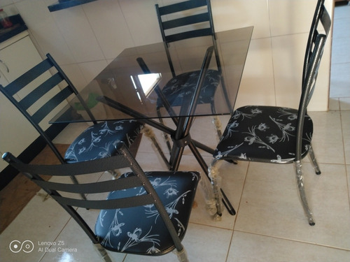 mesas vidro 4 cadeiras 350$