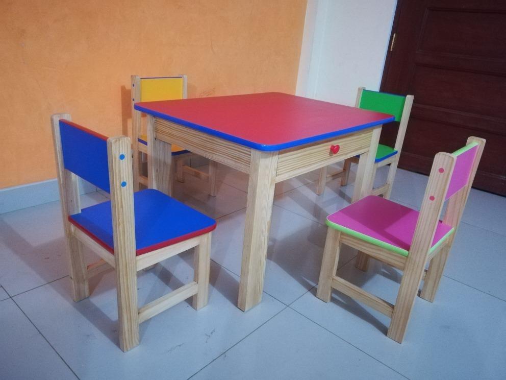 Mesas y sillas para ni os inicial s 220 00 en mercado libre for Sillas para inicial