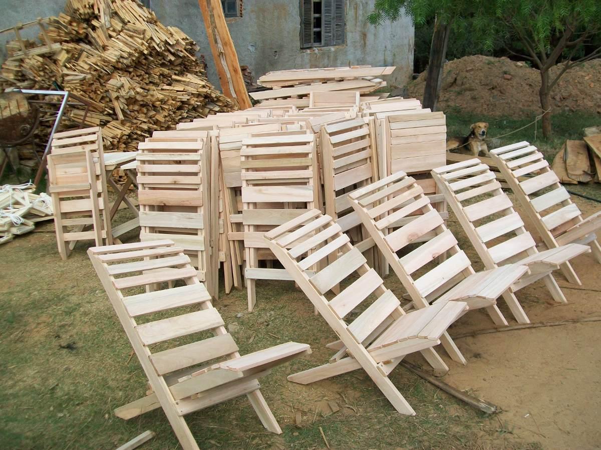 Mesas y sillas plegables camping bar parrillada en madera Mesas y sillas de camping
