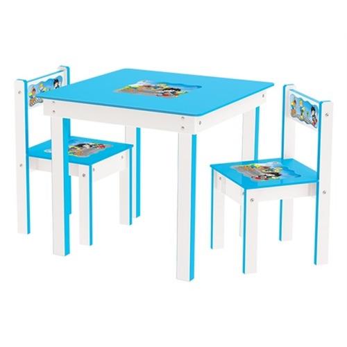 mesinha infantil 2 cadeiras de madeira mesa mdf azul junges