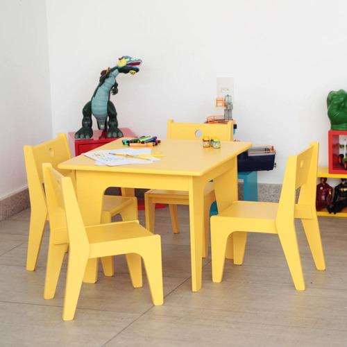 mesinha infantil amarela laca arco design assinado caixotin