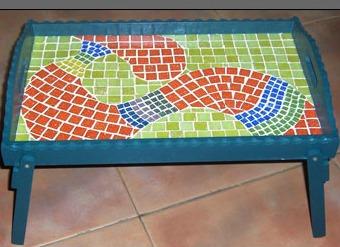 mesita bandeja desayuno diseno artesanal mosaico-hogar