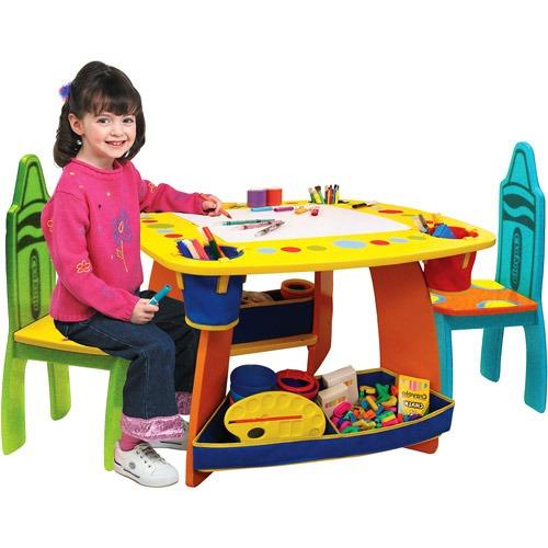 Mesita Mesa Infantil + Sillas Crayola Niños Actividades Fn4 ...