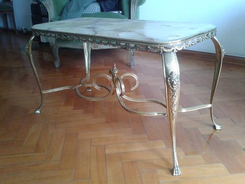 mesitas de estilo en bronce y marmol