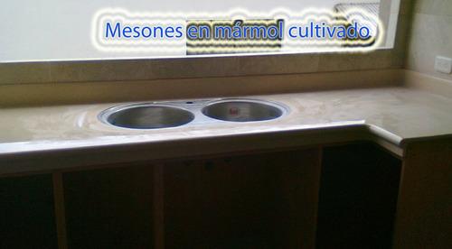 mesones en mármol cultivado