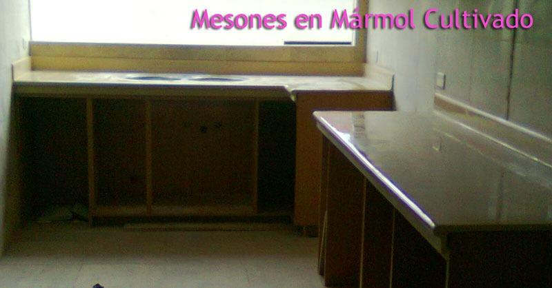 Mesones para cocina mesones para ba o m rmol cultivado for Mesones para cocina