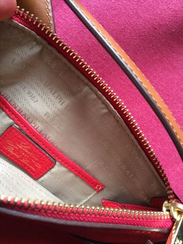 messenger cartera cuero rojo ralph lauren