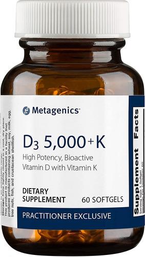 metagenics d3 5000 + k, 60 cápsulas blandas, vitamina d y vi