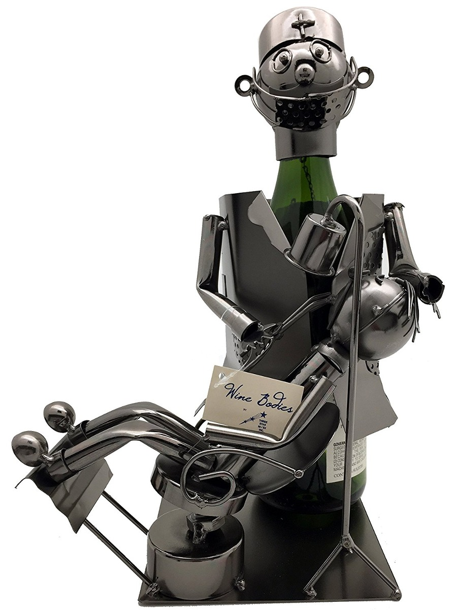 Metal Dentist With Patient Wine Bottle Holder Character 2 039 75
