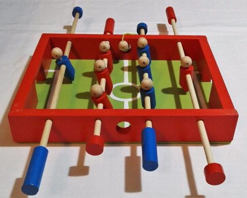 metegol de mesa infantil de madera 30x25x5 cm