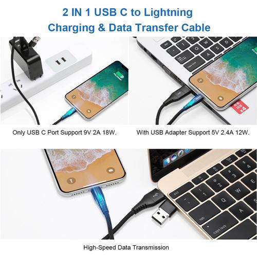 metrans usb c a lightning cable [1ft 2pack] cable de sincron