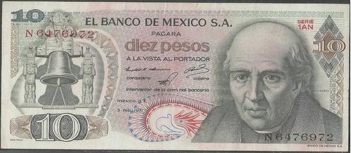 mexico, 10 pesos 3 feb 1971 serie 1an p63d