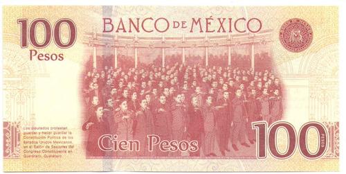 mexico 100 pesos 25ene 2016 serie unc 100 años constitucion