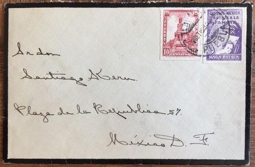 mexico 1930 sobre luto con timbre 10c. y 1c. impuesto postal