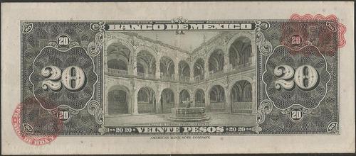 mexico, 20 pesos 17 feb 1965 serie baq p54l