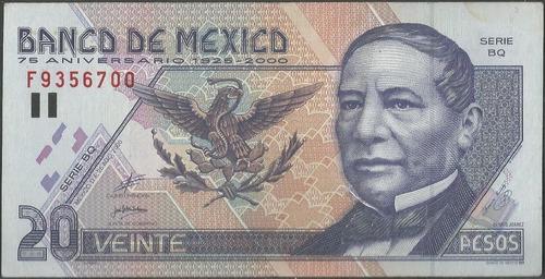 mexico 20 pesos 25 ago 2000 serie bq p111