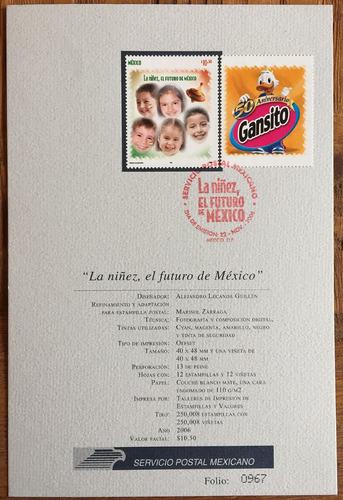 mexico 2006 postre gansito aniv. hojilla postal con timbre