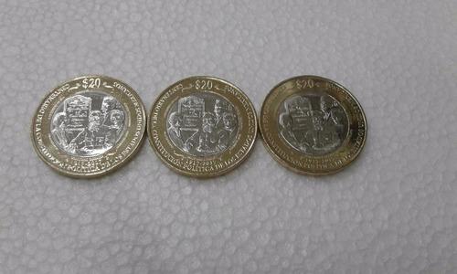 mexico 2017 $20 constitucion 100 años 3 monedas envio gratis