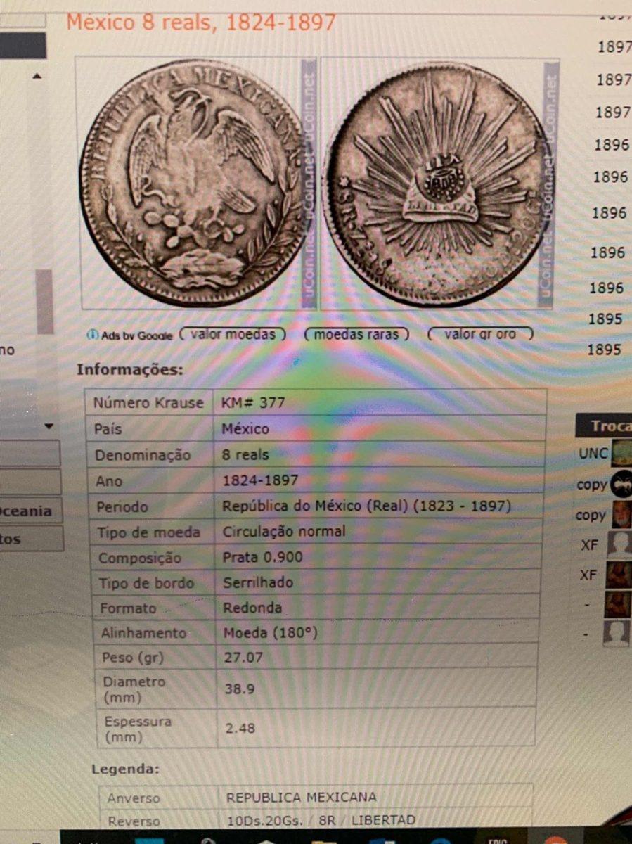 México 8 Reals 1897 R S Prata Mbc Mn359