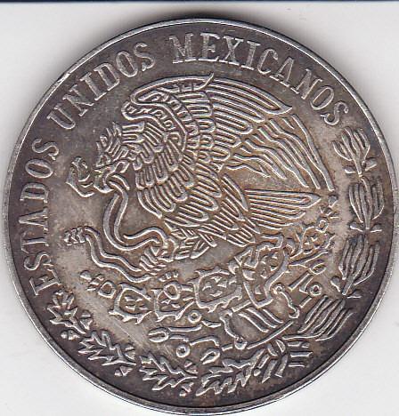 mexico, antigua moneda de plata ley 0,720 25 pesos 1.972