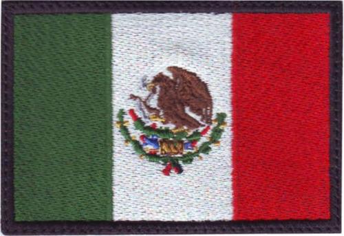 méxico bandera parche bordado negro  v-lcro gancho/ adhesvo
