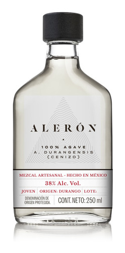 mezcal aleron - agave cenizo - 250 ml | 1 botella