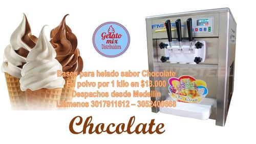 mezcla para helado suave sabor chocolate