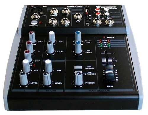 mezcladora 5 canales reproductor usb soundtrack usa
