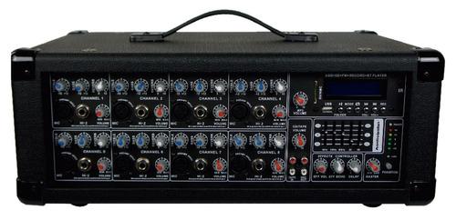 mezcladora amplific 8ch 2200w usb sd efectoeco display xaris