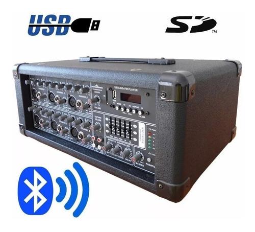 mezcladora amplificada 200 watts rms bluetooth usb/sd 6ch