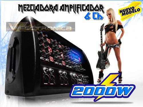 mezcladora amplificador 6ch 2000w efects bluetoot mic usb sd