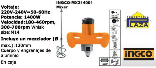 mezcladora de pintura pegamento ingco mx214001 mixer 1400w