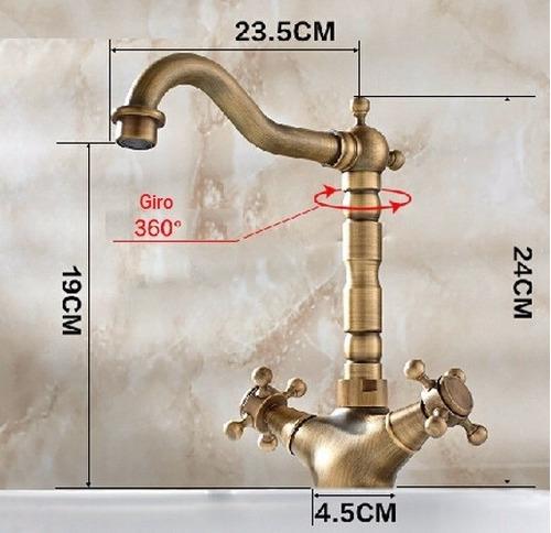 mezcladora grifo antiguo d cocina o baño bronce entrega8-12d