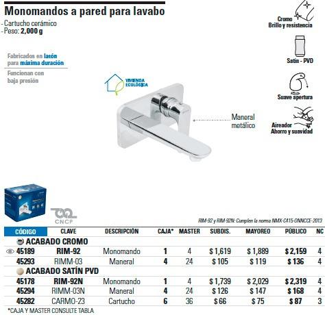 mezcladora monomando a pared /lavabo acabado cromo envio gr¡
