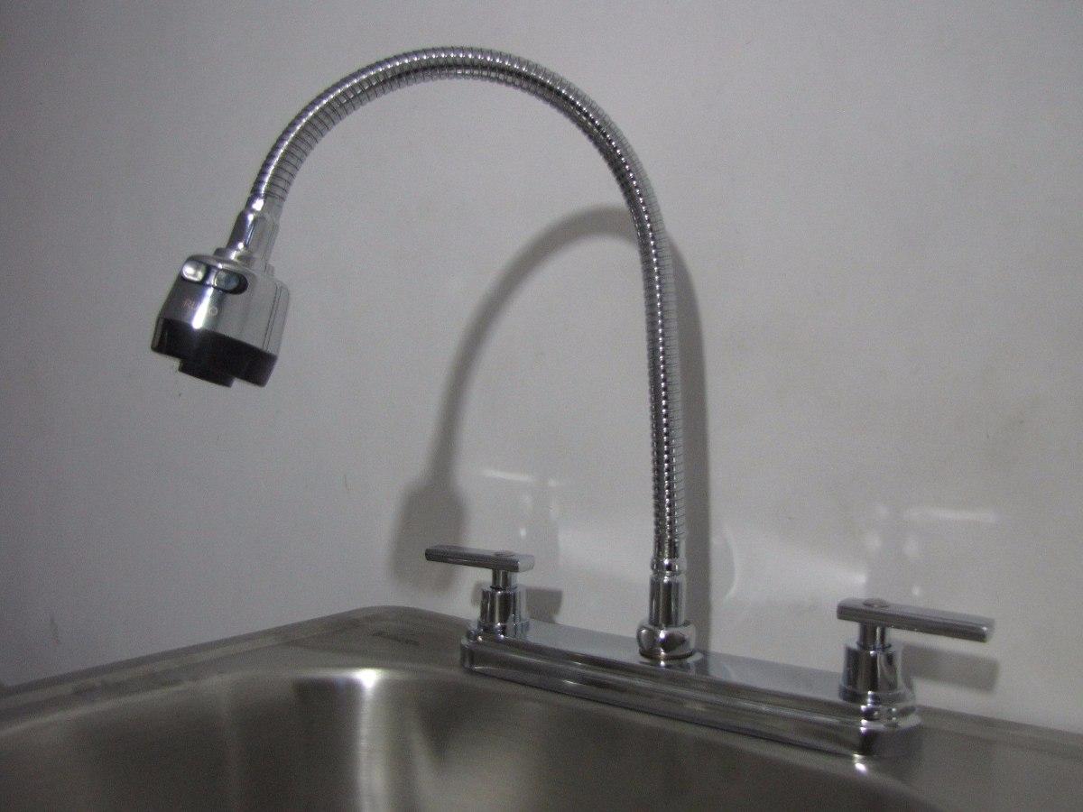 Mezcladora para fregadero con grifo flexible en for Llaves mezcladoras para fregadero