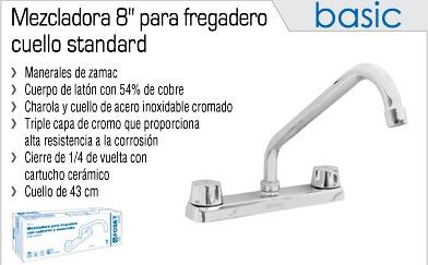 Mezcladora para fregadero cuello standard foset llave for Llave mezcladora para tarja