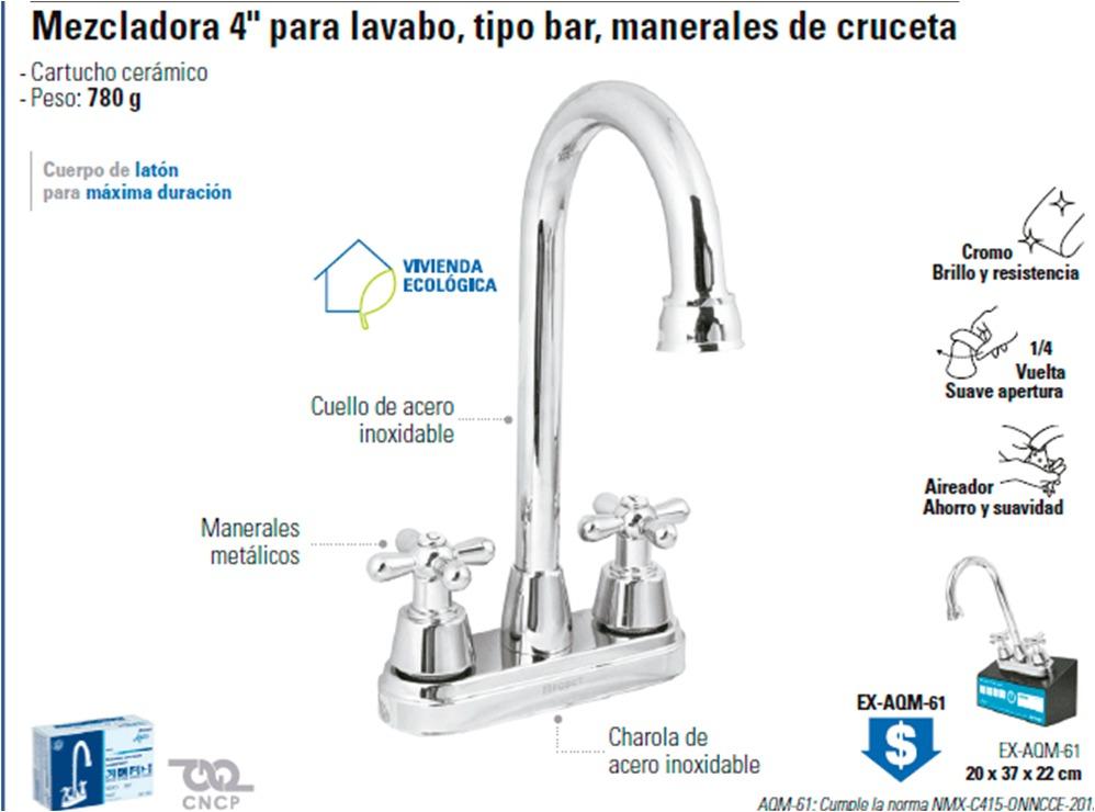 Mezcladora para lavabo tipo bar foset aqua llave 49690 for Llave mezcladora para lavabo