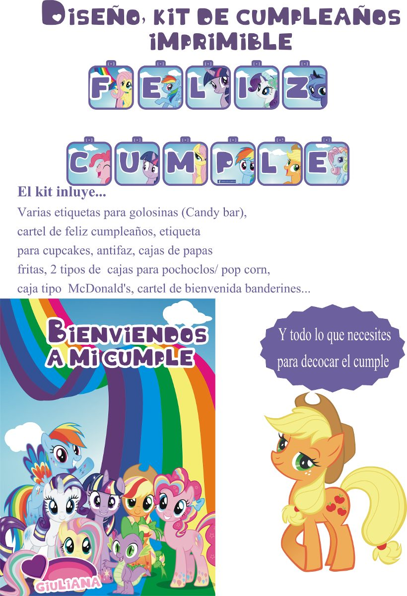 Mi Pequeño Pony Kit De Cumpleaños Imprimible Personalizados - $ 220 ...