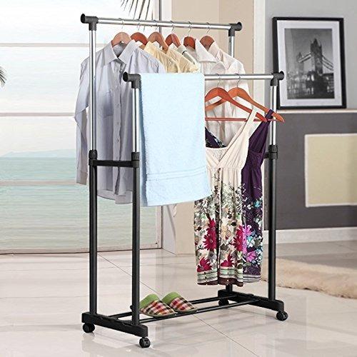 miageek - perchero portátil de doble raíl para ropa,
