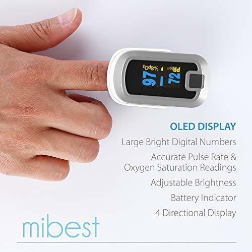 mibest - oxímetro de pulso de dedo oled de doble color, colo