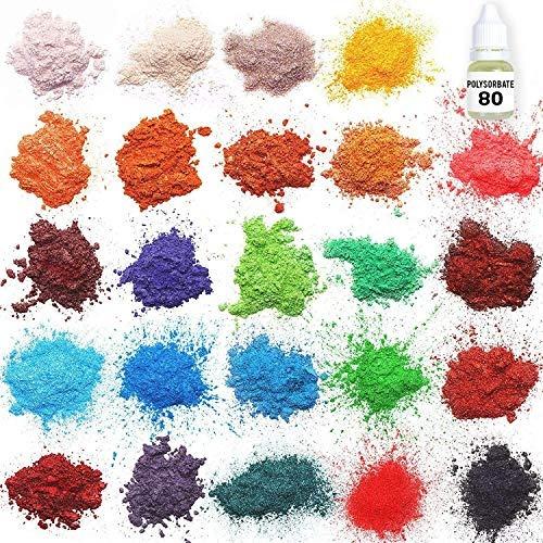 mica en polvo kit de fabricacion de jabon, 24 colores
