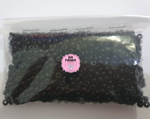 miçanga 6/0 (4mm)  de vidro cor preto pct 100gm para guias