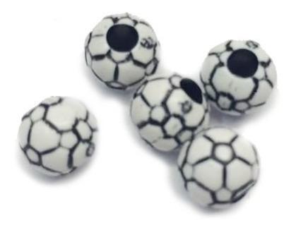 miçanga bolinha de futebol - jabulani branca e preta