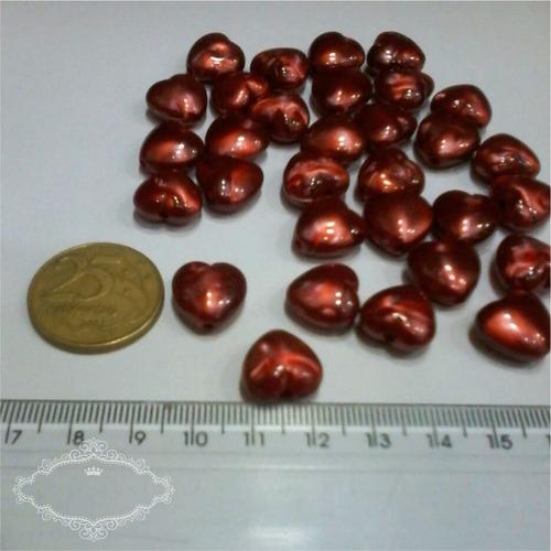 miçanga coração resina - pacote 500 gramas
