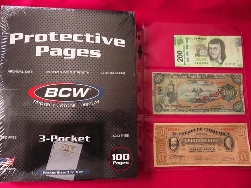 micas hojas bcw para billetes 3 espacios x pieza