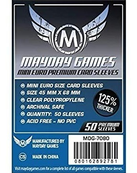 Mayday premium mini euro Card Game sleeves-fundas 45x68mm 50 unidad